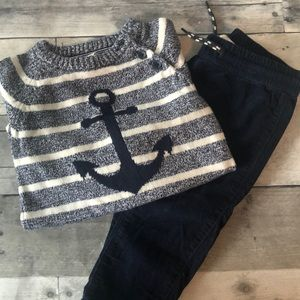 H&M Anchor sweater and pants outfit